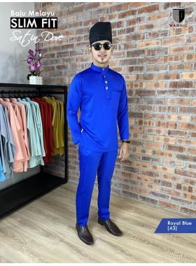 Baju Melayu Satin Dove Slimfit - Royal Blue