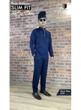 Baju Melayu Satin Dove Slimfit - Navy Blue